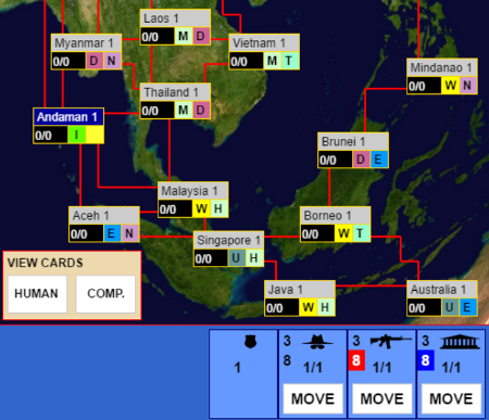 A game simulating a cold war between India and China in South East Asia
